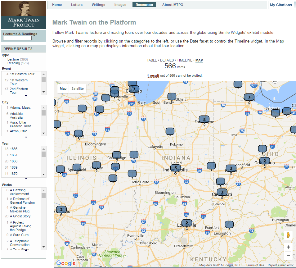 Map highlighting Mark Twain's lectures in the Midwest. Mark Twain Project.