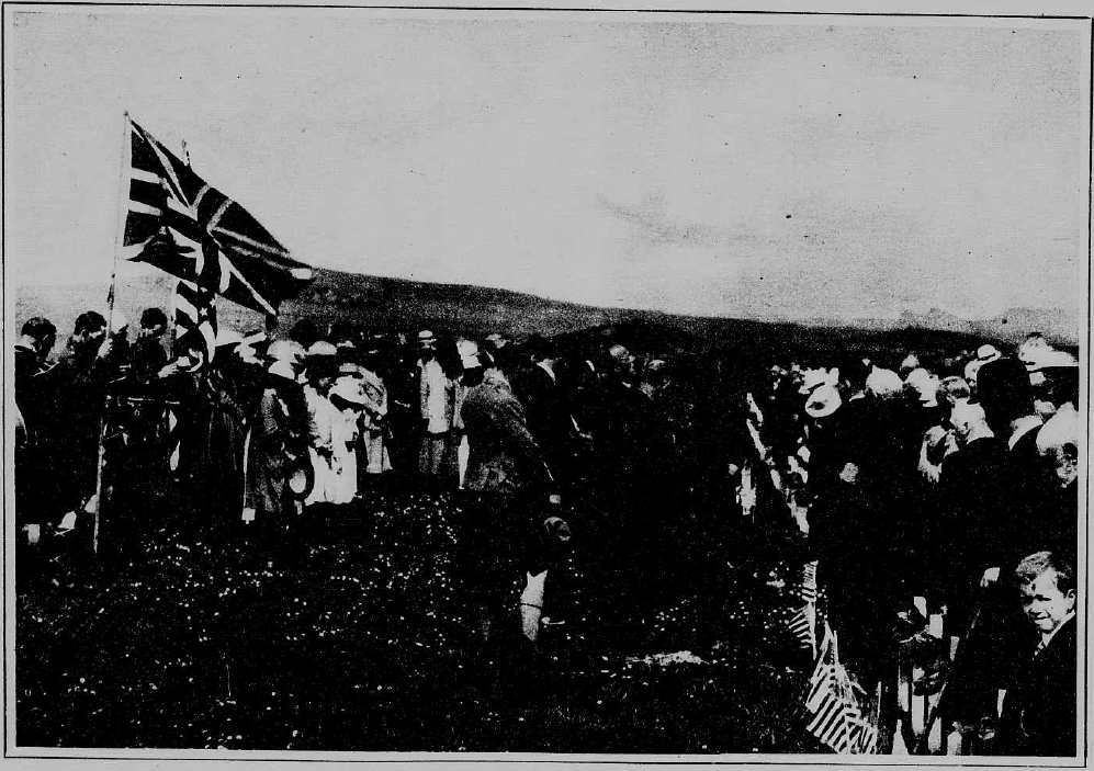 A memorial ceremony for those lost on the Tuscania, isle of Islay, Memorial Day 1920. From the New York Tribune, June 20, 1920, Chronicling America.