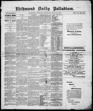 Richmond Daily Palladium, July 15, 1882. From Hoosier State Chronicles.