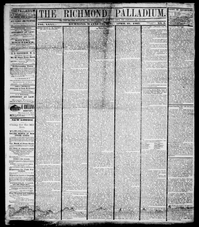 Richmond Palladium (Weekly), April 21, 1865. From Hoosier State Chronicles.