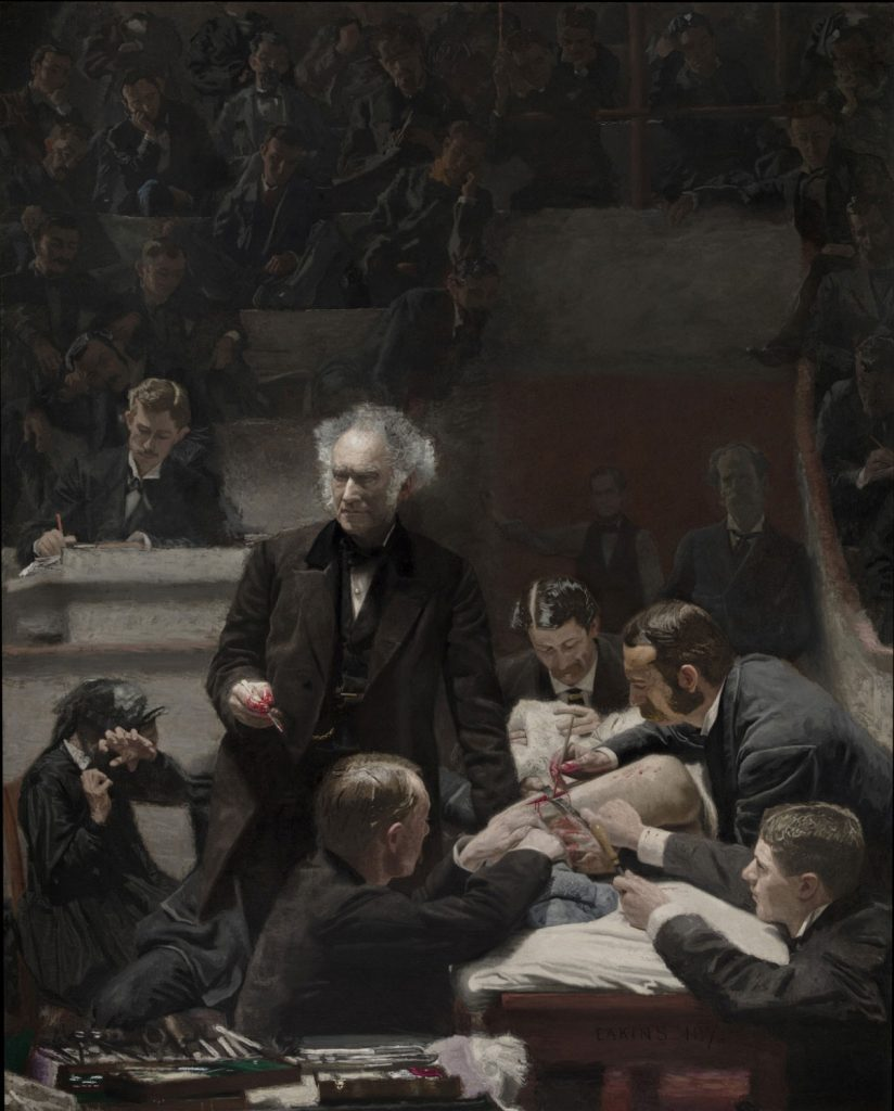 Thomas Eakins, Portrait of Dr. Samuel D. Gross (The Gross Clinic), oil on canvas, 1875, Philadelphia Museum of Art. {Painting depicts surgery in front of a class of medical students; note the man applying a rag, likely soaked with ether.]
