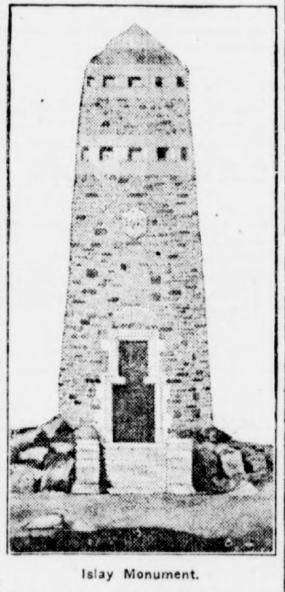 The monument at Mull, isle of Islay, Greencastle Herald, September 10, 1919, Hoosier State Chronicles.