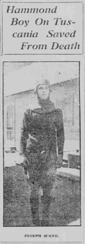 Tuscania survivor Joseph McKee, Lake County Times, February 11, 1918, Hoosier State Chronicles.
