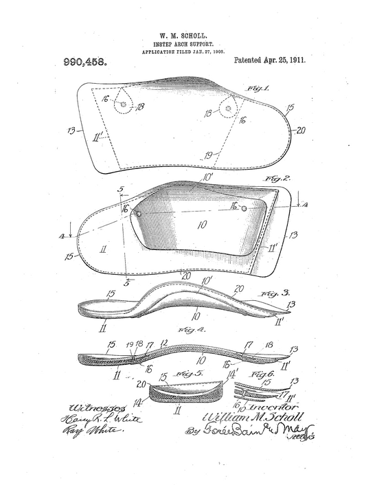 Instep-arch support patent [marketed as Foot-Eazer], Publication date April 25, 1911, accessed Google Patents