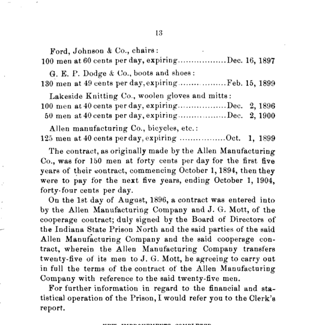 Public record of Allen Manufacturing's labor agreement with Indiana prison north, Google Books.