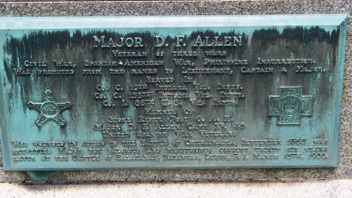 Memorial plaque at David F. Allen's grave, Frankfort, Indiana, FindAGrave.com.