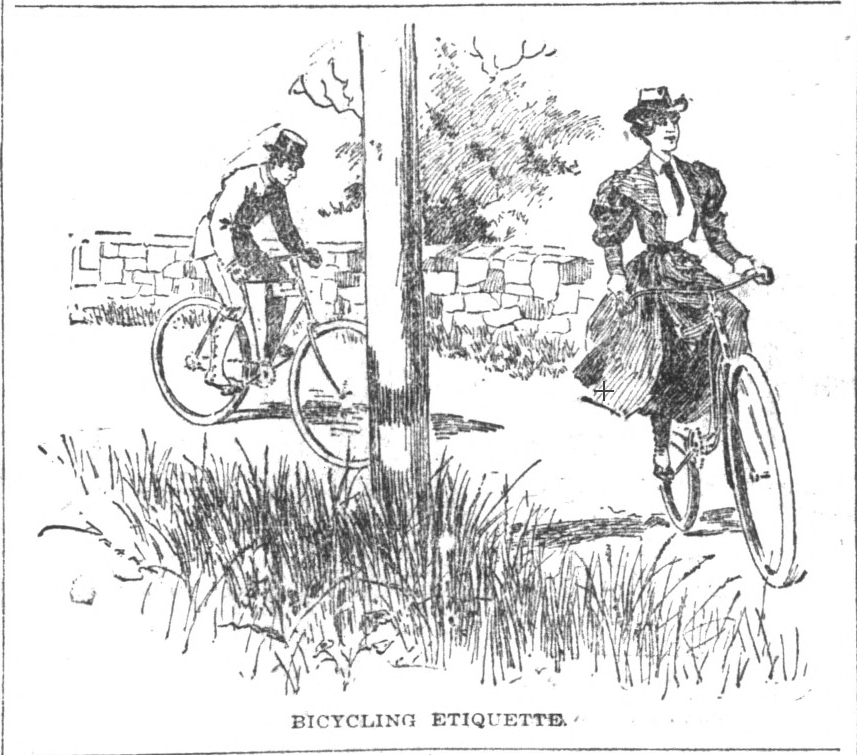 """Bicycling Etiquette,"" Indianapolis News, August 18, 1894, Hoosier State Chronicles."