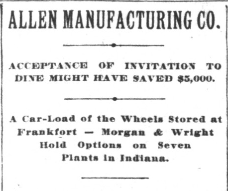 Headline for Blodgett's third and final major piece on Allen Manufacturing, January 15, 1898, Hoosier State Chronicles.