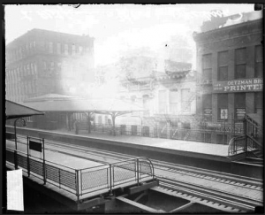 Elevated Railroad Station at East Madison Boulevard and Wells Street [near Scholl's building] November 1, 1913, Chicago Daily News Photograph, Chicago History Museum, accessed Explore Chicago Collections, explore.chicagocollections.org/image/chicagohistory/71/qr4p14f/