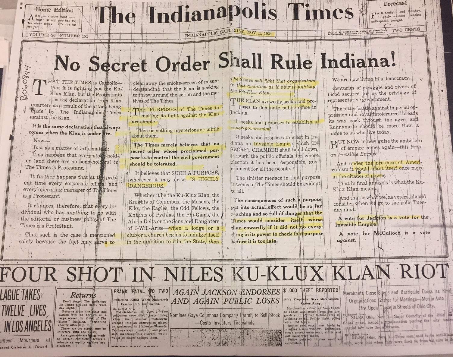 newspaper histories hoosier state chronicles na s digital this front page editorial explains the times dedication to exposing the ku klux klan and its influence on state politics
