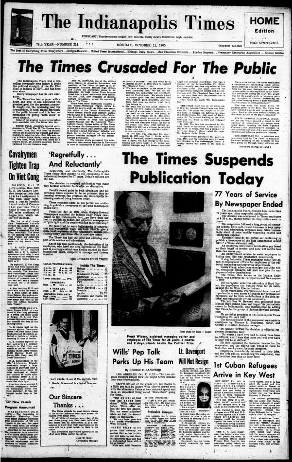 indiana indianapolis times october 1965 newspaper front newspapers library state digital program issue last