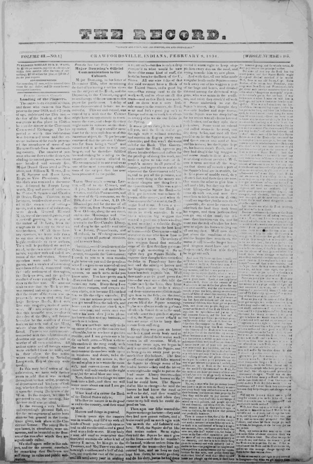 Montgomery County Newspapers A Short History Hoosier State