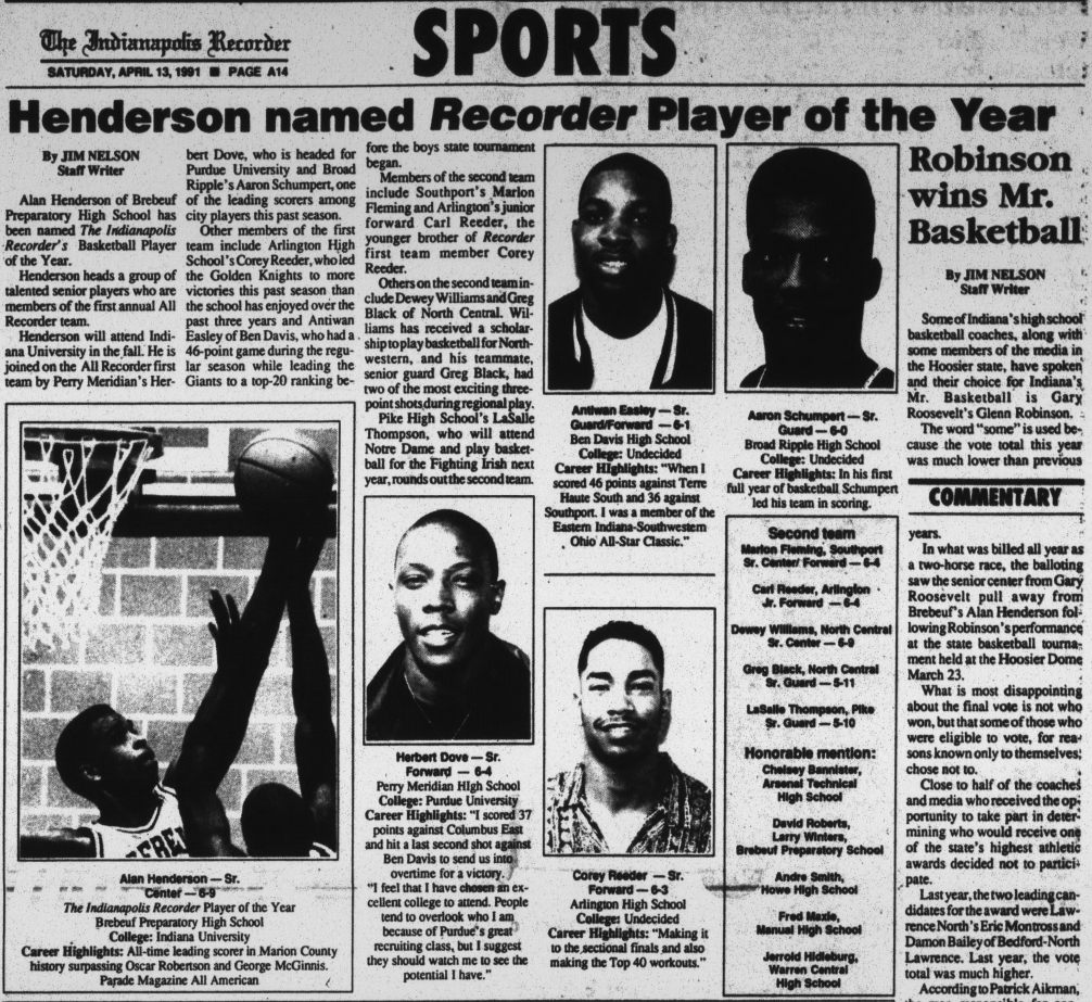 separation shoes 868d4 dd4b5 Indianapolis Recorder, April 13, 1991, p. 14. Hoosier State Chronicles.  While the title Mr. Basketball ...